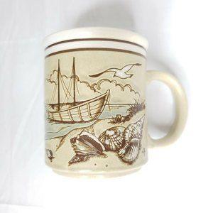 Vintage Beach Seascape Shells Boat Nautical Mug